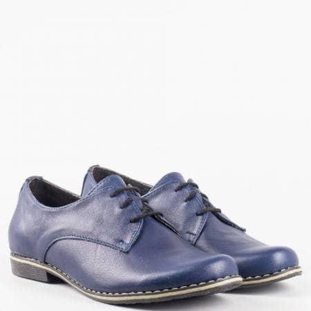 Дамски ежедневни обувки на шито комфортно ходило от изцяло естествена кожа с връзки в син цвят 18314004s