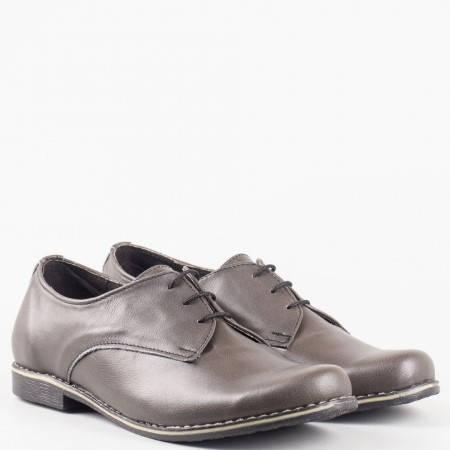 Дамска обувка с класическа визия на нисък ток в сив цвят 18314004sv