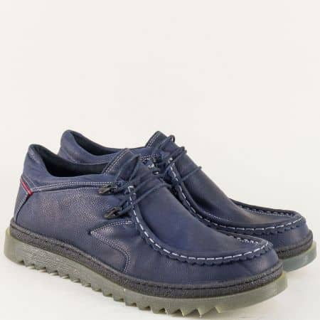 Мъжки обувки с връзки от естествена кожа в син цвят 1834215s