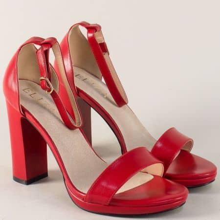 Червени дамски сандали на висок стабилен ток 1843496chv