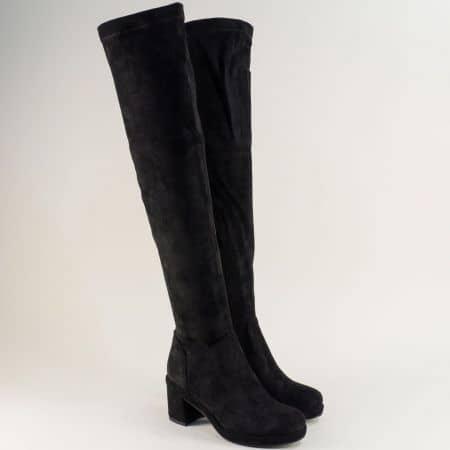 Дамски черни чизми Eliza на висок ток  184949vch