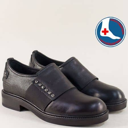 Дамски обувки в сребро и черно с ортопедична извивка 1849921chsr