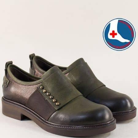 Дамски обувки в зелено и тъмно кафяво на нисък ток 1849921zk