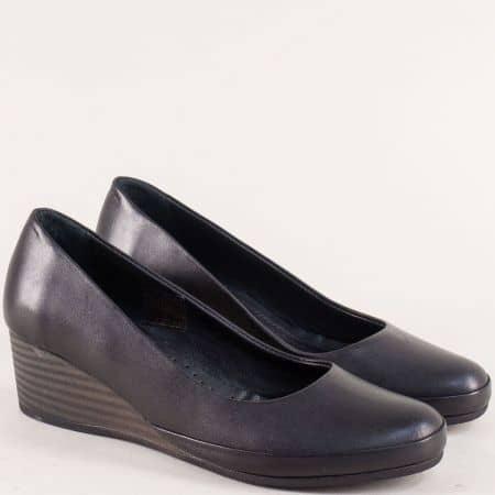Черни дамски обувки от естествена кожа на клин ходило 185317901ch
