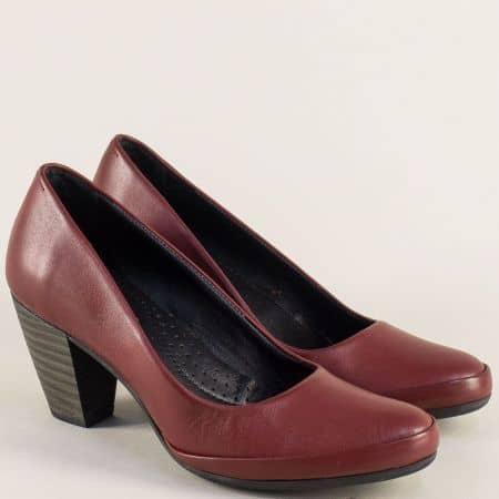 Кожени дамски обувки в цвят бордо на висок ток 185512753bd