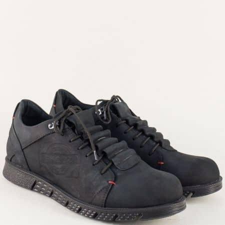 Мъжки обувки с връзки от естествен набук в черен цвят 1855nch
