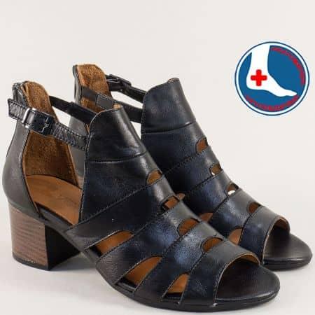 Кожени дамски сандали със затворена пета в черен цвят 1857211ch