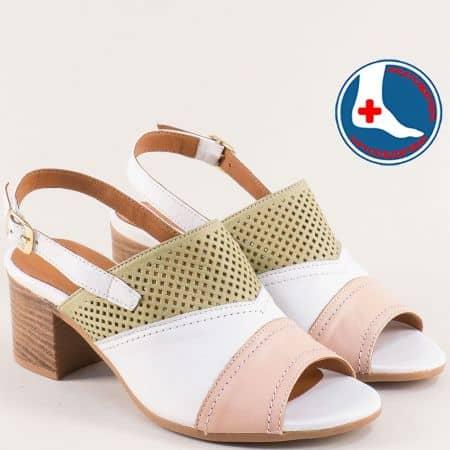 Кожени дамски сандали в бяло, зелено и розово 1857212bps