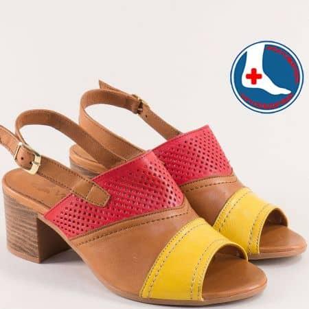 Кожени дамски сандали в кафяво, жълто и червено 1857212kps