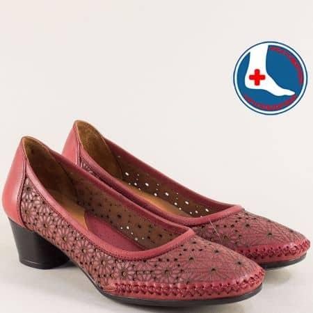Естествена кожа дамски обувки с ортопедична стелка в цвят бордо 1857803bd