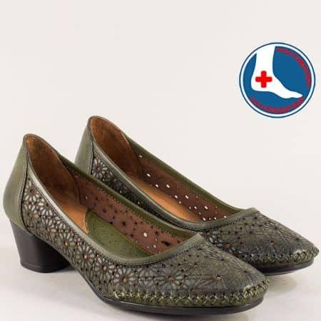 Зелени дамски обувки на нисък ток с ортопедична стелка 1857803z