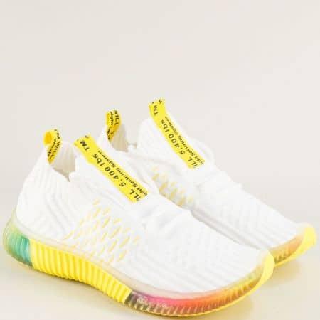 Бели дамски маратонки с връзки на жълто ходило 186-40b1