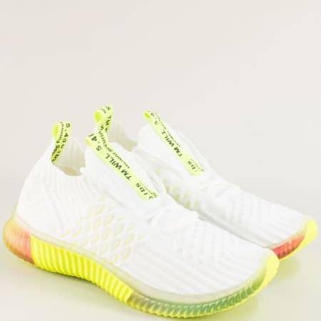 Дамски маратонки в бяло, зелено, розово и жълто 186-40bz1