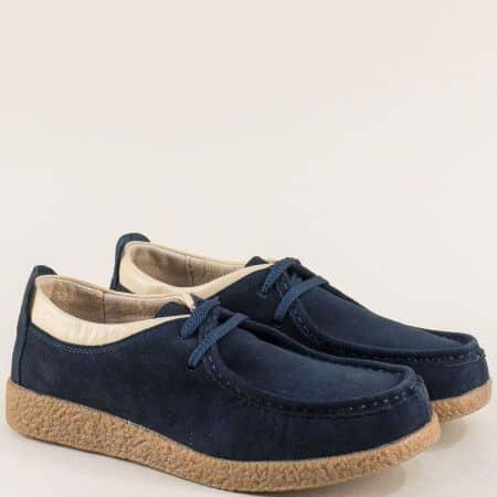 Велурени дамски обувки в син цвят с кожена стелка 186004vs
