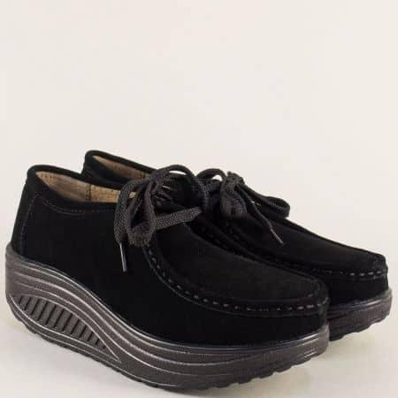 Черни дамски обувки от естествен велур на платформа 186005vch