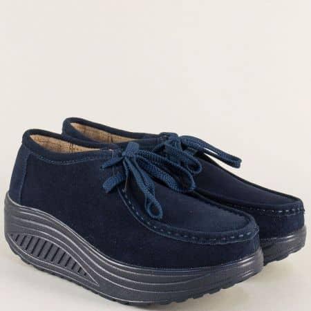 Велурени дамски обувки с връзки на платформа в синьо 186005vs
