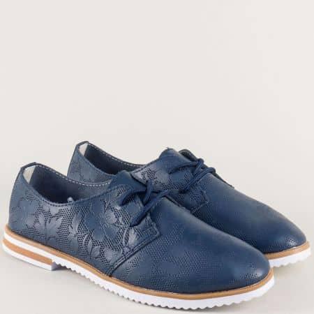 Равни дамски обувки в тъмно син цвят с перфорация 186007s