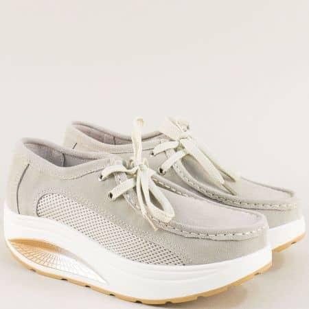 Бежови дамски обувки от естествен велур с връзки 186020vbj