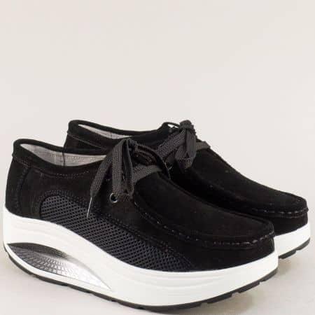 Велурени дамски обувки в черен цвят с кожена стелка 186020vch