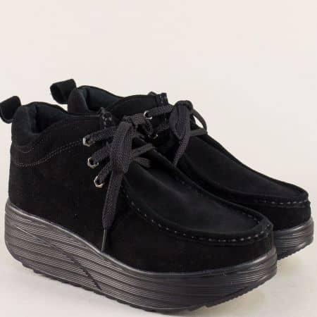 Черни дамски боти на платформа от естествен велур 186022vch