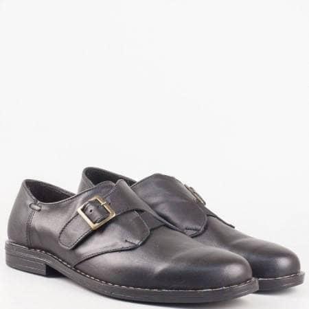 Български шити мъжки обувки от черна естествена кажа изцяло с ластик и катарама 186215ch