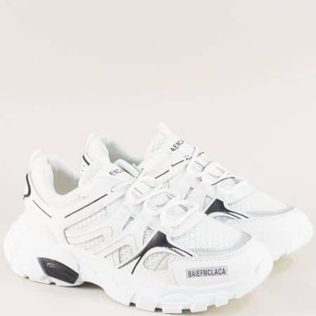 Спортни дамски обувки с връзки на удобно ходило в бяло 1865-40b