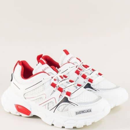 Дамски маратонки в червено и бяло на удобно ходило 1865-40bchv