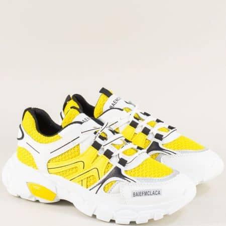 Спортни дамски обувки на удобно ходило в бяло и жълто 1865-40bj