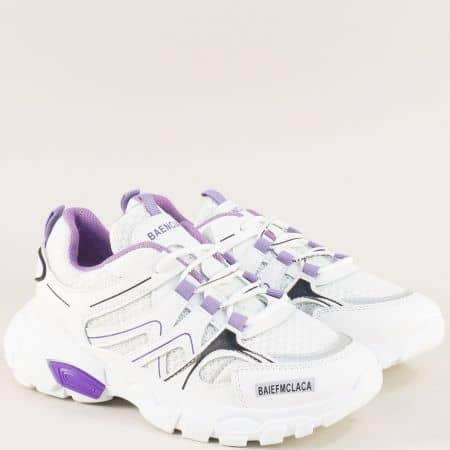 Дамски маратонки в лилаво и бяло на удобно ходило 1865-40bl