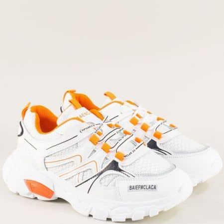 Дамски маратонки на удобно ходило в бяло и оранж 1865-40bo