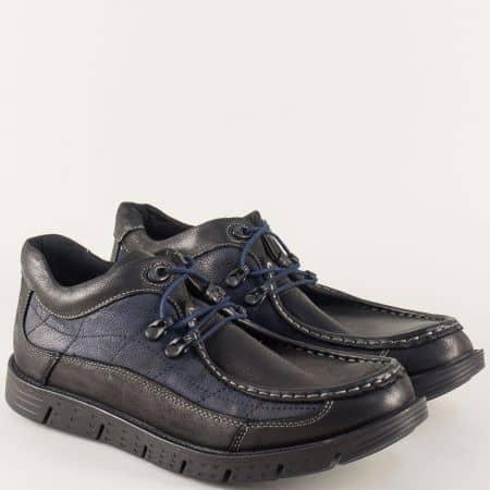 Синьо- черни мъжки мокасини от естествена кожа 186chs
