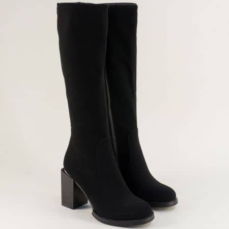 Дамски ботуши в черен цвят на квадратен висок ток- ELIZA 187345ch