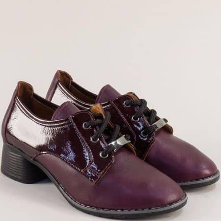 Дамски обувки на среден ток в цвят бордо 18742bd