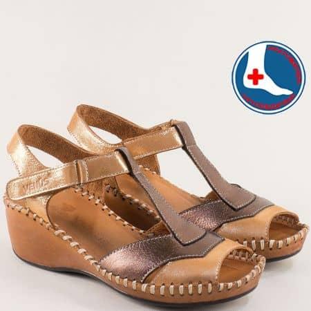 Кафяви дамски сандали от естествена кожа и сатен 18791388k