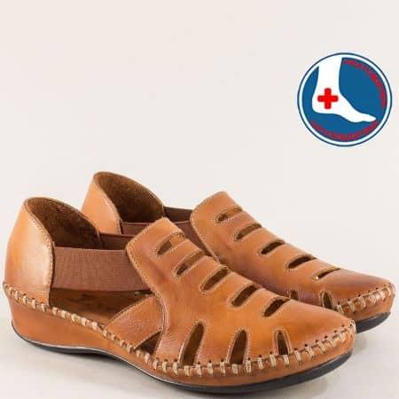 Кафяви дамски сандали от естествена кожа с прорези 18791395k
