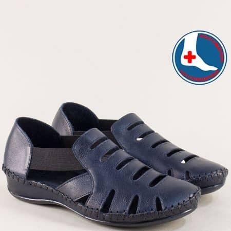 Дамски сандали със затворени пръсти и пета в син цвят 18791395s