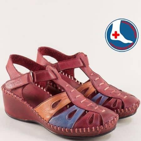 Кожени дамски сандали в цвят бордо на клин ходило  18793032bdps