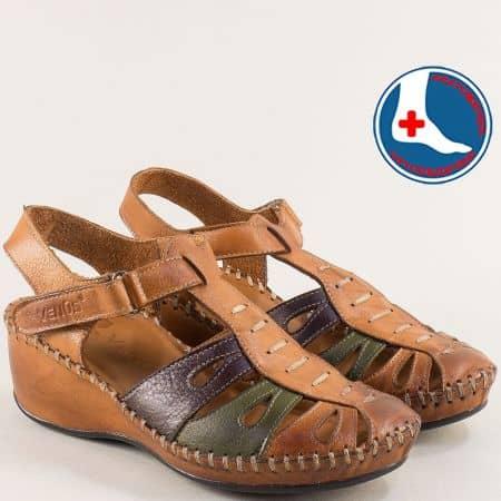 Кожени дамски сандали в кафяво, зелено и синьо 18793032kps
