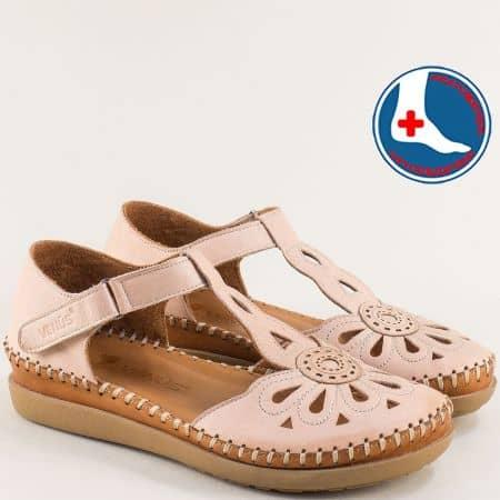 Розови дамски сандали от естествена кожа с перфорация 18793505rz