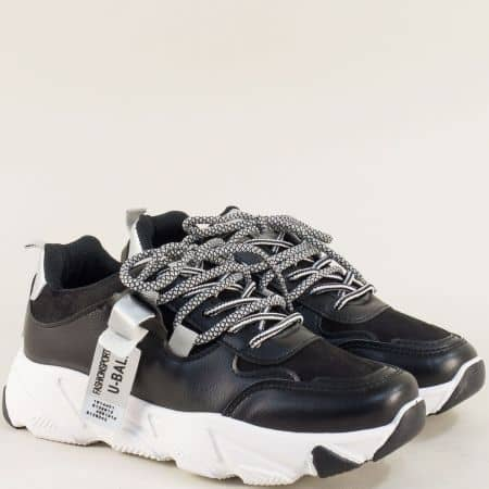 Дамски спортни обувки с връзки в сиво и черно 188-40ch