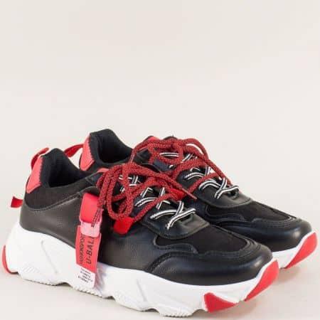 Дамски маратонки в червено и черно на бяло ходило 188-40chchv