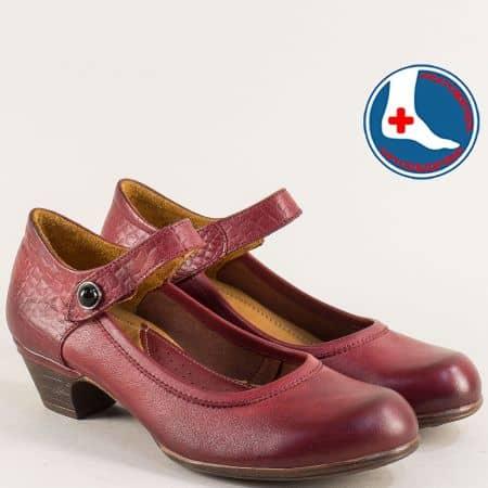 Ортопедични дамски обувки от естествена кожа в бордо 1900701bd