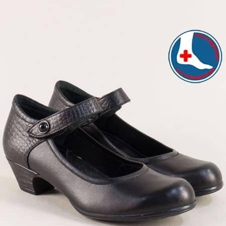 Дамски обувки с лепка и кожена стелка в черен цвят 1900701ch