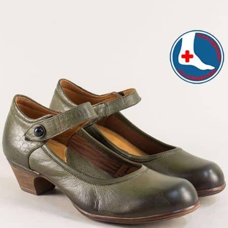 Зелени дамски обувки на нисък ток от естествена кожа 1900701z