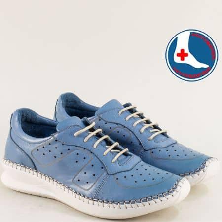 Сини дамски обувки с перфорация от естествена кожа 1901770s