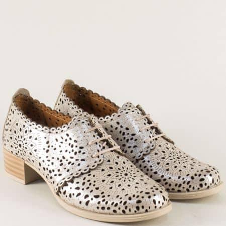 Бежови дамски обувки с връзки от естествена кожа 190bj
