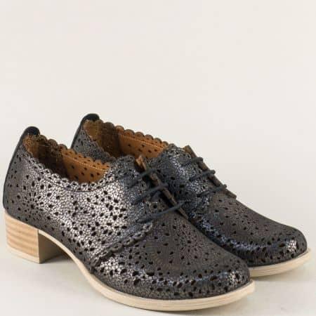 Черни дамски обувки на нисък ток с перфорация  190ch