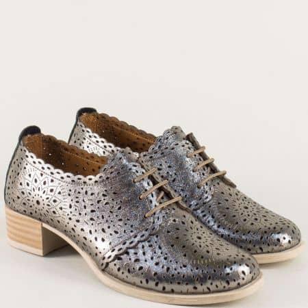 Сребърни дамски обувки от естествена кожа с перфорация 190sr
