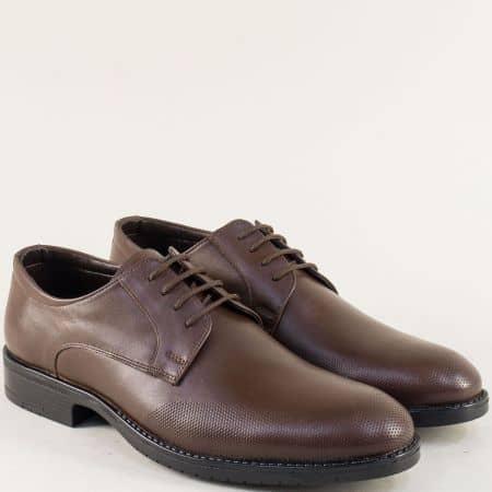 Тъмно кафяви мъжки обувки с връзки и кожена стелка 19102kk