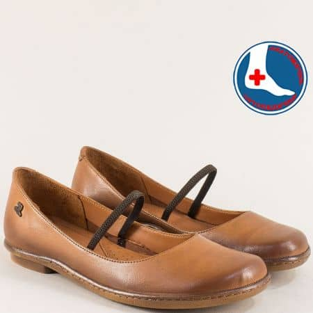 Кафяви дамски обувки на равно ходило с ластик 1911301k